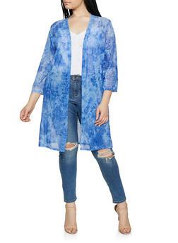 Plus Size Tie Dye Mesh Duster - 1912062705301