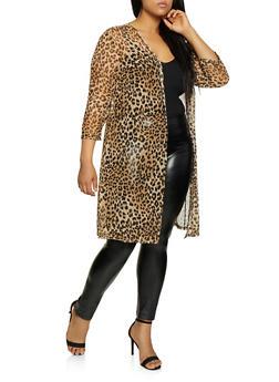 Plus Size Leopard Mesh Duster - 1912062705302