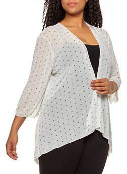 Plus Size Polka Dot Mesh Cardigan - 1912062705400