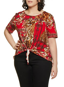 Plus Size Printed Soft Knit High Low Tee - 1912062705872