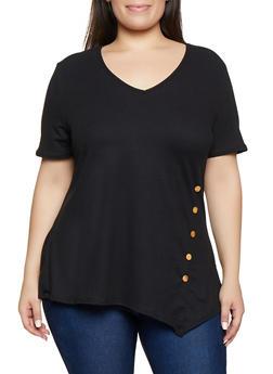 Black V-Neck Plus Size Tops