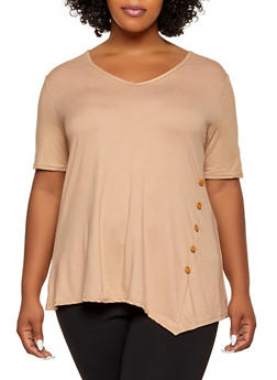 Plus Size Button Detail V Neck Top - 1912062705874