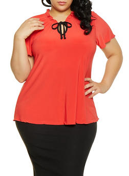 Plus Size Tie Neck Top - 1912062705901