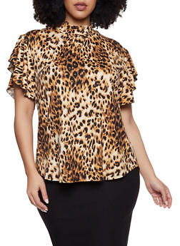 Plus Size Leopard Mock Neck Top - 1912062705904