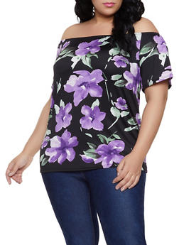 Plus Size Floral Off the Shoulder Top | 1912062705905 - 1912062705905