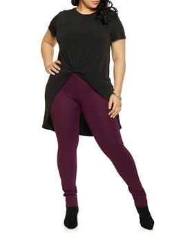 Plus Size Knot Front High Low Top - 1912062705907