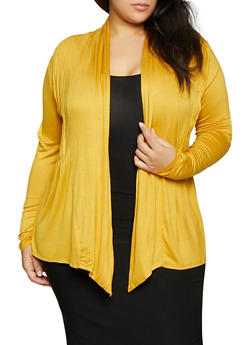 Plus Size Pleated Open Front Cardigan - 1912062706133