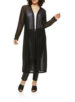 Plus Size Long Sleeve Mesh Duster - 1912062706554
