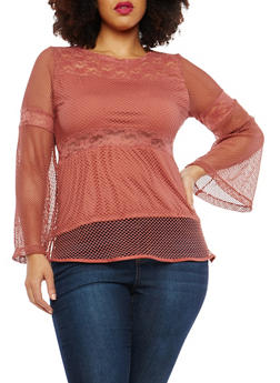 Plus Size Lace Fishnet Top - 1912062908810