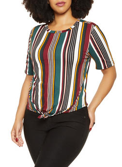 Plus Size Striped Knot Front Tee - 1912063400057