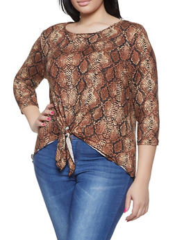 Plus Size Snake Print Tie Front Top - 1912063400761
