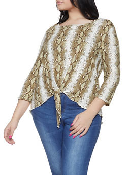 Plus Size Snake Print Tie Front Top - 1912063400768