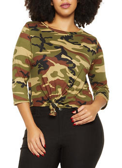 Plus Size Camo Knot Front Tee - OLIVE - 1912063404657