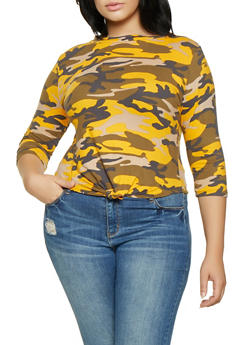 Plus Size Camo Knot Front Tee - MUSTARD - 1912063404657