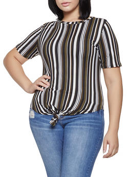 Plus Size Striped Tie Front Top - 1912063406571
