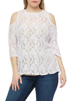 Plus Size Lace Cold Shoulder Top - 1912063406575