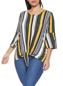 Plus Size Striped Tie Front Top - 1912066592282