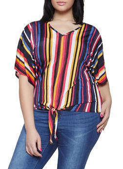 Plus Size Striped Tie Front Tee - 1912066597001