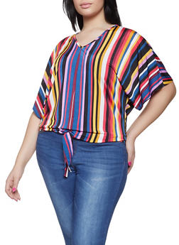 Plus Size Striped Tie Front Tee | 1912066597001 - 1912066597001