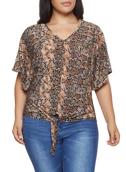 Plus Size Snake Print Tie Front Top - 1912066597002