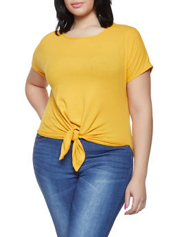 Plus Size Rib Knit Tie Front Top - 1912066597004