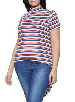 Plus Size Striped Rib Knit High Low Top - 1912066597005