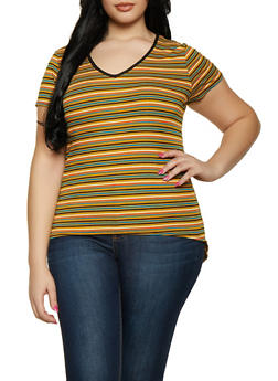 Plus Size Striped High Low Tee - 1912066597006