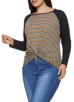 Plus Size Striped Twist Front Rib Knit Top - 1912066597007