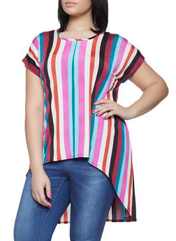 Plus Size Striped High Low Top - 1912066597008