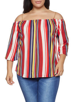 Plus Size Striped Off the Shoulder Chain Strap Top - 1912066597009