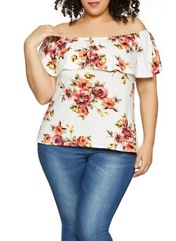 Plus Size Ruffled Off the Shoulder Top | 1912066597016 - Multi - Size 2X - 1912066597016