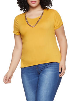 Plus Size High Low Tee - Yellow - Size 1X - 1912066597018