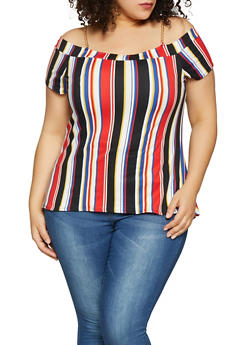 Plus Size Vertical Stripe Off the Shoulder Chain Strap Top - 1912066597019