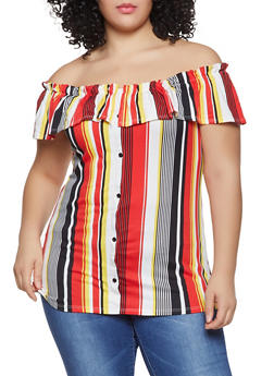 Plus Size Off the Shoulder Faux Button Front Top - 1912066597022