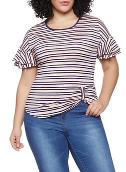 Plus Size Striped Tiered Sleeve Top - 1912066597024