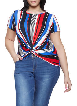 Plus Size Twist Front Striped Top - 1912066597088