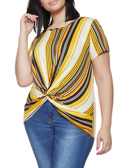 Plus Size Twist Front Striped Top - 1912066597088