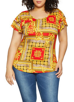 Plus Size Printed Soft Knit Tee - 1912072240249