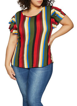 Plus Size Striped Soft Knit Tee - 1912072242491