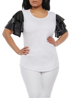 Plus Size Tiered Faux Leather Sleeve Top - 1912072246682