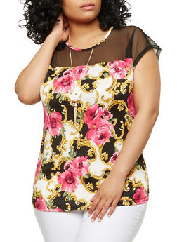 Plus Size Mesh Yoke Printed Top with Necklace - 1912074015220