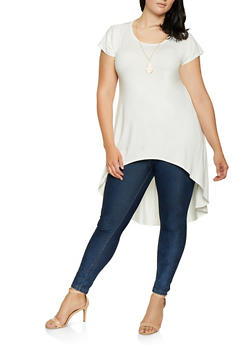 Plus Size High Low Tunic Top with Necklace - 1912074015609