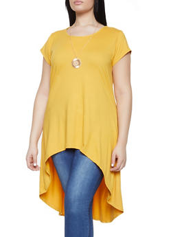3120f60432b7b Plus Size High Low Tunic Top with Necklace - 1912074015609