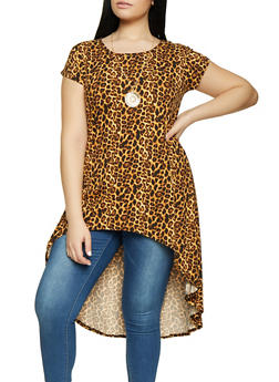 Plus Size Printed High Low Tunic Top with Necklace - BLACK - 1912074015668