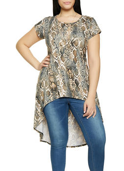 Plus Size Printed High Low Tunic Top with Necklace - GRAY - 1912074015668