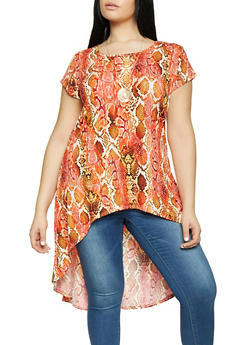 Plus Size Printed High Low Tunic Top with Necklace - BROWN - 1912074015668