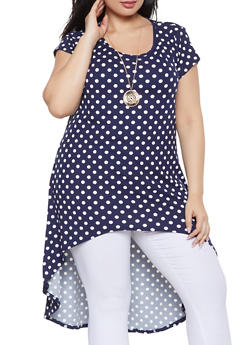 Plus Size Printed High Low Tunic Top with Necklace - NAVY - 1912074015668