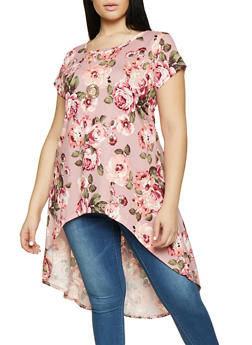 Plus Size Printed High Low Tunic Top with Necklace - ROSE - 1912074015668