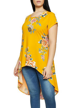 Plus Size Printed High Low Tunic Top with Necklace - MUSTARD - 1912074015668