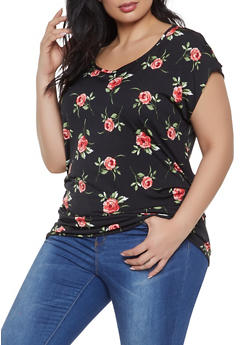 Plus Size Floral Ruched Top - 1912074015674